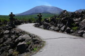 Lava and Mt. Asama in japan — Stock Photo