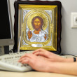Religious icons in a modern office — ストック写真