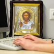 Religious icons in a modern office — Stok fotoğraf