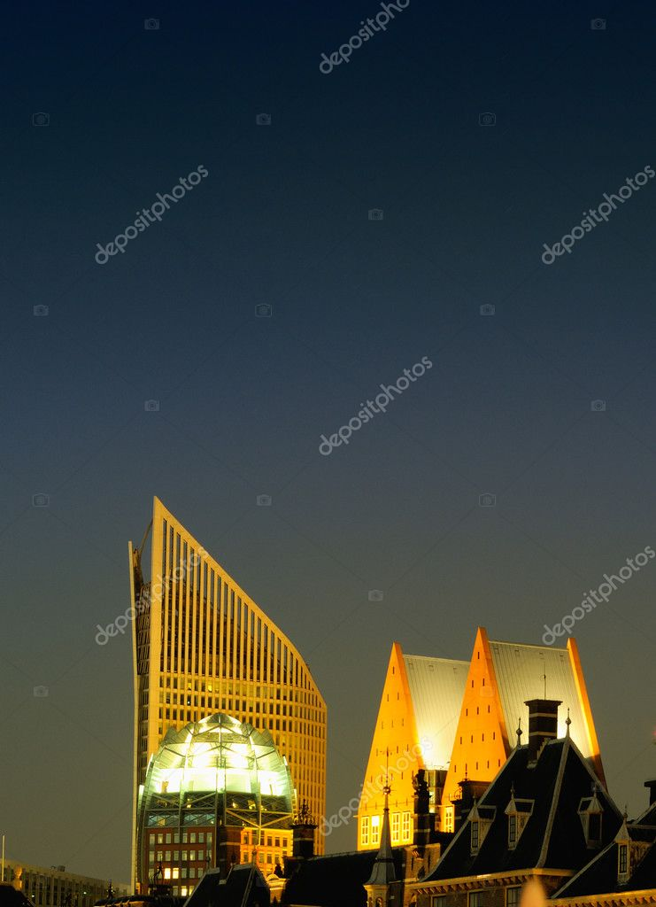 This photograph represents the nightlife district of The Hague, the Netherlands, with its monumental  buildings and modern skyline in the background. Great file  Stock Photo #5968110