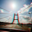 Suspension bridge crossing - stereoscopic 3-d image — Stock Photo