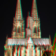 Stock Photo: 3D anaglyph stereo image Cologne Cathedral in the night