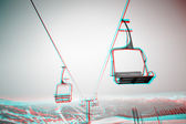 Beautiful 3D anaglyph stereo image of a ski chair lift — Stock Photo