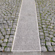Old grey pavement in a pattern in an old medieval european town. — Stock Photo
