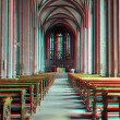 3D anaglyph of a cathedral interior - Stock Photo