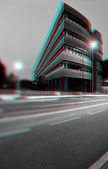 3D anaglyph of office building — Stock Photo