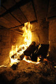 Log Fire — Stockfoto