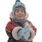 The boy and snowflakes — Stock Photo