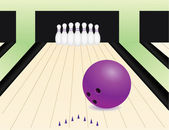 Bowling alley with the ball and pins — Stock Vector