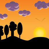 Flock of birds at sunset — Stock Vector