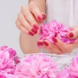 Manicure spa pampering with delicate flower — Stock Photo