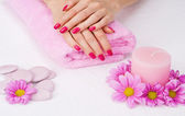 Spa manicure treatment — Stock Photo