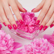 Foto de Stock  : Manicure procedure with pink flowers