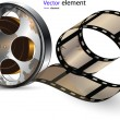 Video film tape on disc vector format — Stock Vector