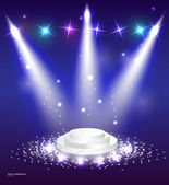 Vector Stage Spotlight with podium — Stock Vector