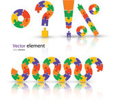 Puzzle set color vector illustration — Stock Vector