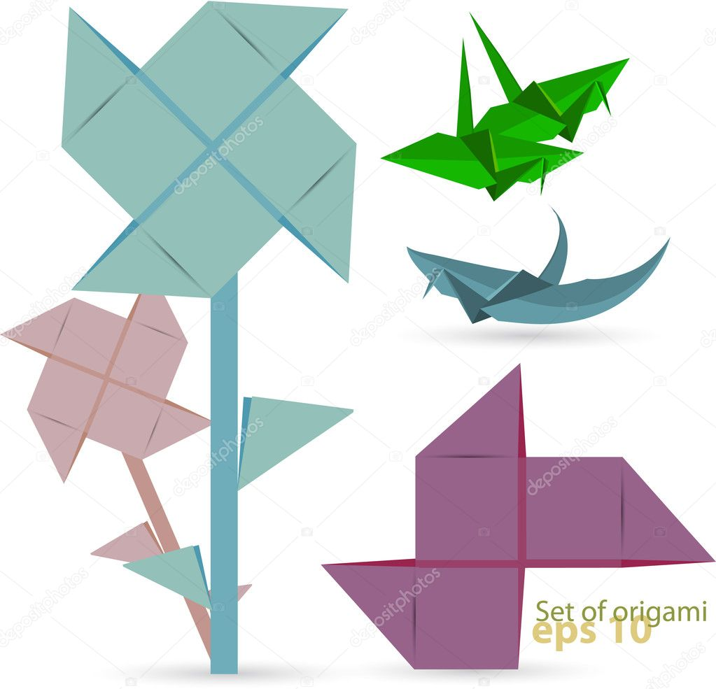 Vector set of origami birds — Stock Vector #6522096