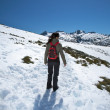 Stock Photo: Woman walking on snow mountain