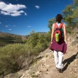 Back woman hiking in gredos — Stock Photo