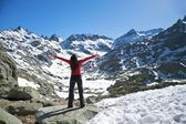 Big greeting at snow valley — Stock Photo