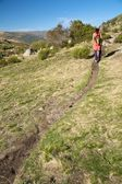 Curve path to woman — Stock Photo