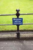 Bicycles will be removed — Stock Photo