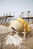 Cement mixer side — Stock Photo
