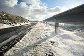 Ice on guard rails — Stock Photo