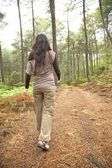 Woman backwards on brown path — Stock Photo