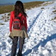 Walking on long snow path — Stock Photo