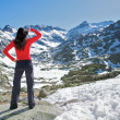 Red woman watching snow valley — Stock Photo