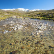 Stock Photo: River at gredos snow mountains