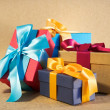 Four colour gift boxes — Stock Photo
