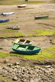 Boats in low tide — Stock Photo