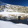 River on snow mountain at Gredos — Stock Photo