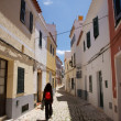 Walking at Ciutadella street — Stock Photo