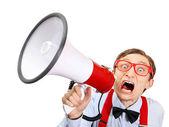 Cara engraçado com megafone — Foto Stock