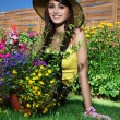Stock Photo: Beautiful woman gardener