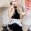 Gossiping housewife - Foto Stock