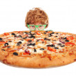 grappige kerel met pizza — Stockfoto #5821485