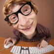 Funny guy at the computer - Foto Stock