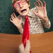 Scared office worker - Stock Photo