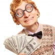 Funny businessman with money - Stock Photo