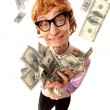 Foto Stock: Funny businessman with money