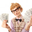 Foto de Stock  : Funny businessman with money