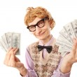 Funny businessman with money — Stock Photo