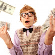 Stock Photo: Funny businessmwith money