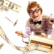 Accountant with money making machine — Stockfoto