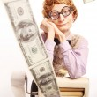Accountant with money making machine — Stock Photo