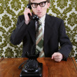 Retro manager angry on the phone — Stock Photo